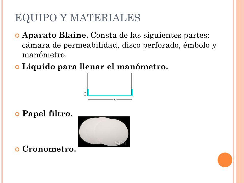 PRINCIPIO DEL MÉTODO Consiste en hacer pasar una cantidad determinada de aire a través de una capa de cemento de porosidad definida. La cantidad y el
