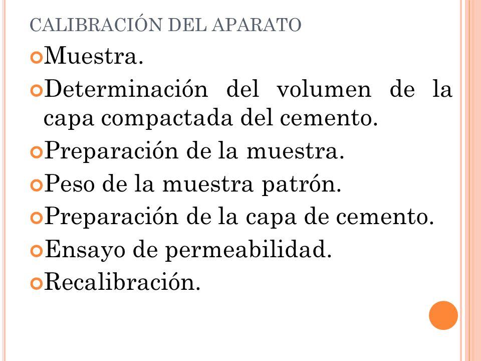 CALIBRACIÓN DEL APARATO Muestra.Determinación del volumen de la capa compactada del cemento.