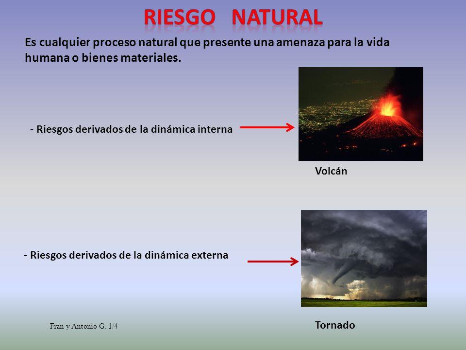 - Riesgos derivados de la dinámica interna Volcán - Riesgos derivados de la dinámica externa Tornado Es cualquier proceso natural que presente una ame