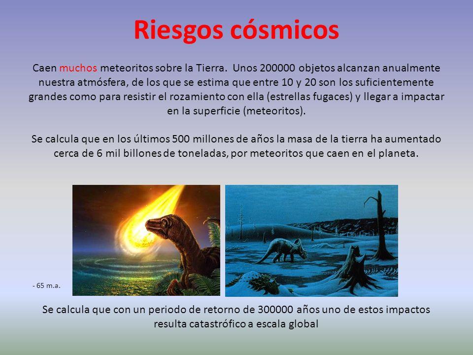 Riesgos cósmicos Caen muchos meteoritos sobre la Tierra. Unos 200000 objetos alcanzan anualmente nuestra atmósfera, de los que se estima que entre 10