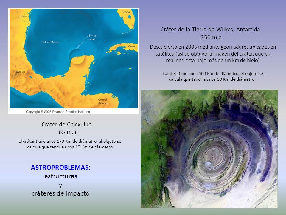 http://1.bp.blogspot.com/_IP- xhn2P2rQ/SZTc88v3aHI/AAAA AAAAAtc/MLFJlIo4U5k/s1600- h/Chicxulub_Map.jpg Cráter de Chicxuluc - 65 m.a. Cráter de la Tier