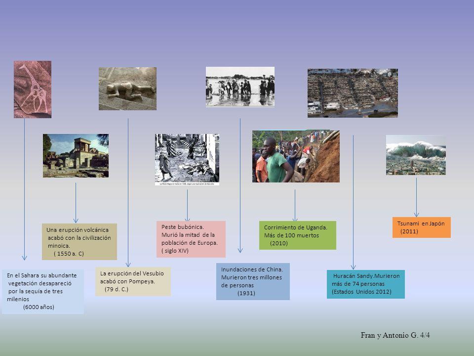 En el Sahara su abundante vegetación desapareció por la sequía de tres milenios (6000 años) Una erupción volcánica acabó con la civilización minoica.