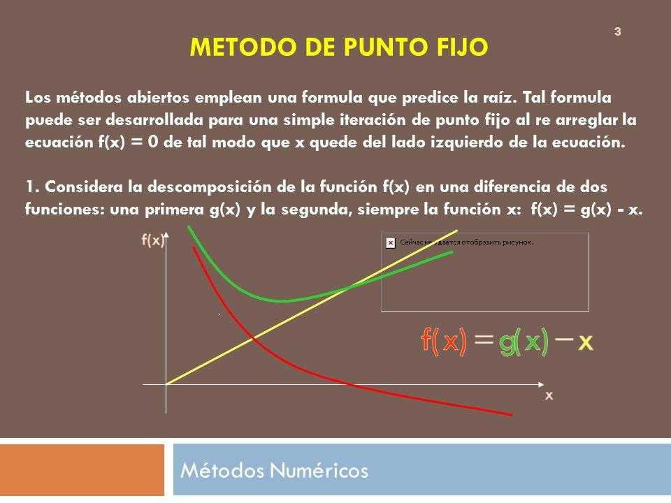 METODO DE PUNTO FIJO Los métodos abiertos emplean una formula que predice la raíz. Tal formula puede ser desarrollada para una simple iteración de pun