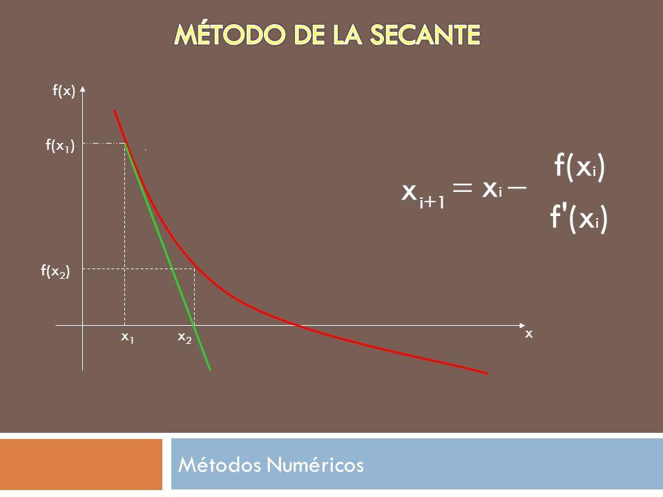 i+1 x f'(x i ) x i f(x i ) x1x1 f(x) x f(x 1 ) x2x2 f(x 2 ) Métodos Numéricos