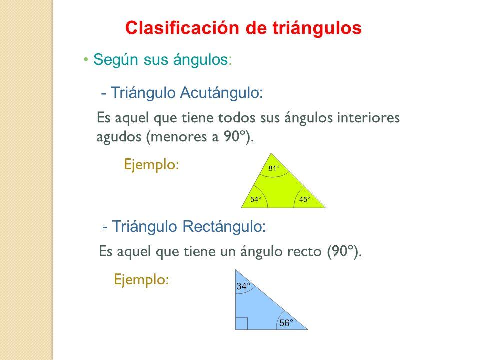 Clasificación de triángulos Según sus ángulos: - Triángulo Acutángulo: - Triángulo Rectángulo: Es aquel que tiene todos sus ángulos interiores agudos