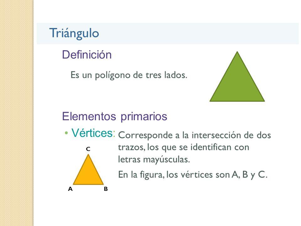 Definición Triángulo Es un polígono de tres lados. Elementos primarios Vértices: Corresponde a la intersección de dos trazos, los que se identifican c