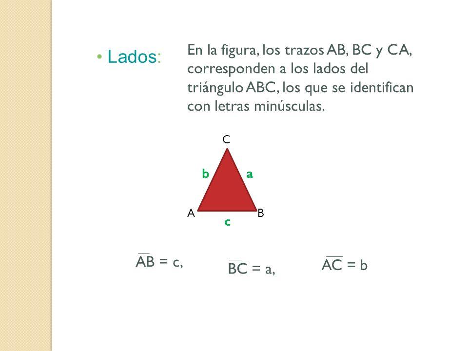 Lados: En la figura, los trazos AB, BC y CA, corresponden a los lados del triángulo ABC, los que se identifican con letras minúsculas. AB C a b c AB =