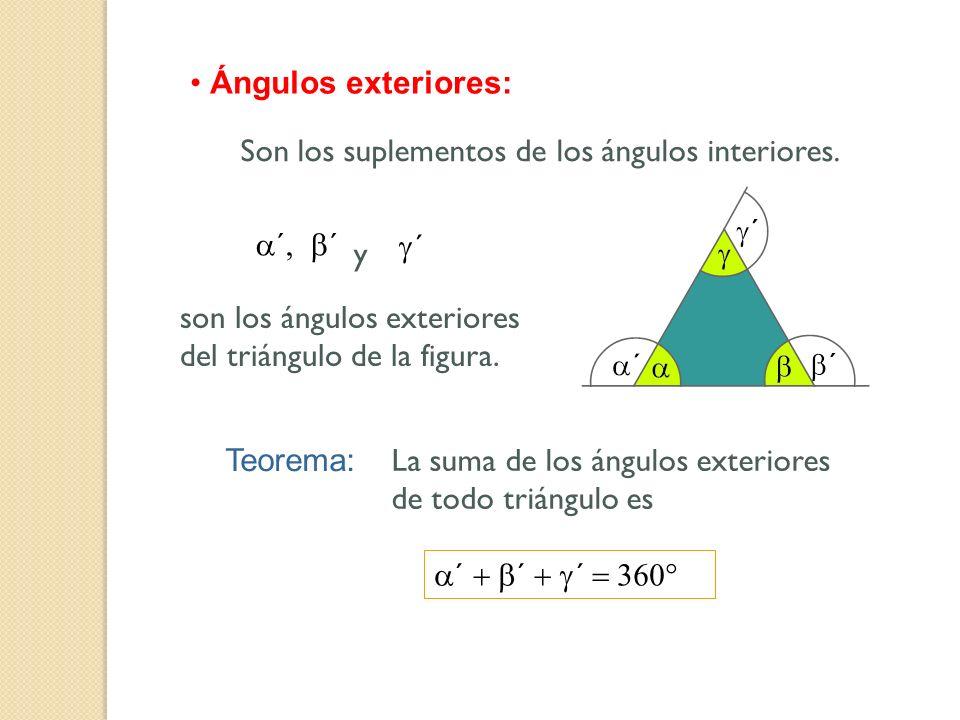 Ángulos exteriores: ´ y ´ son los ángulos exteriores del triángulo de la figura. Son los suplementos de los ángulos interiores. Teorema: La suma de lo