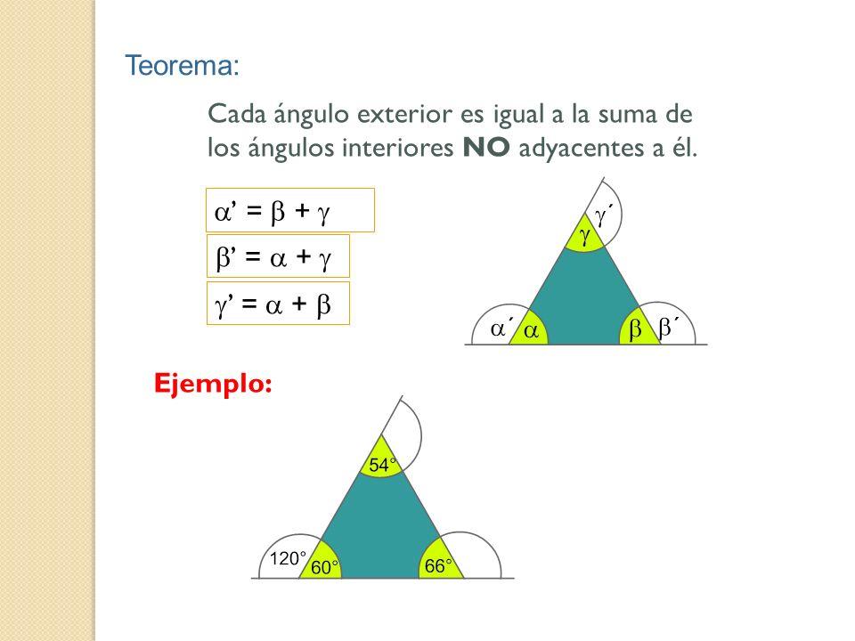Teorema: Cada ángulo exterior es igual a la suma de los ángulos interiores NO adyacentes a él. = + Ejemplo: