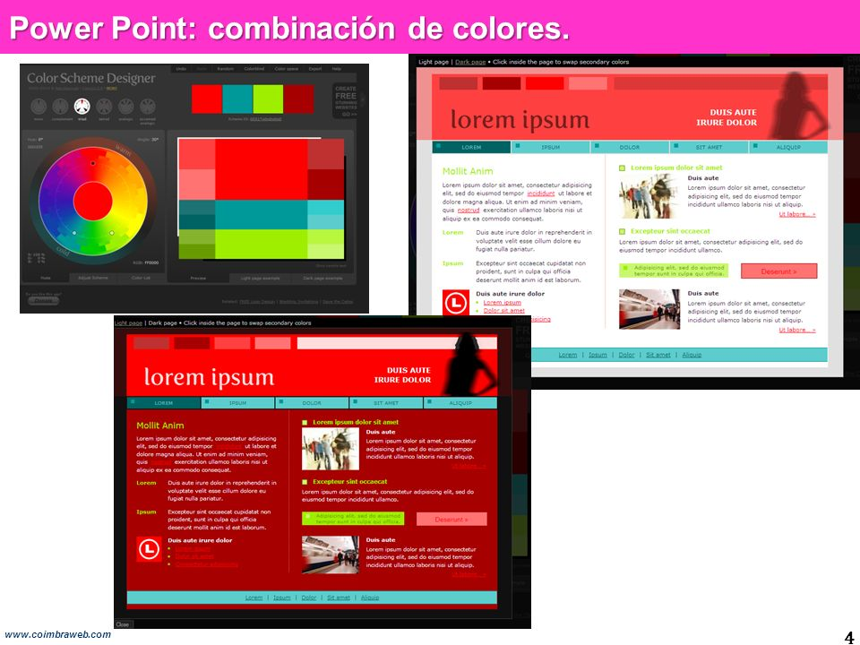 Power Point: combinación de colores. 4 www.coimbraweb.com