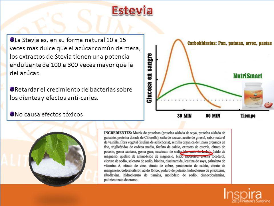 La Stevia es, en su forma natural 10 a 15 veces mas dulce que el azúcar común de mesa, los extractos de Stevia tienen una potencia endulzante de 100 a 300 veces mayor que la del azúcar.