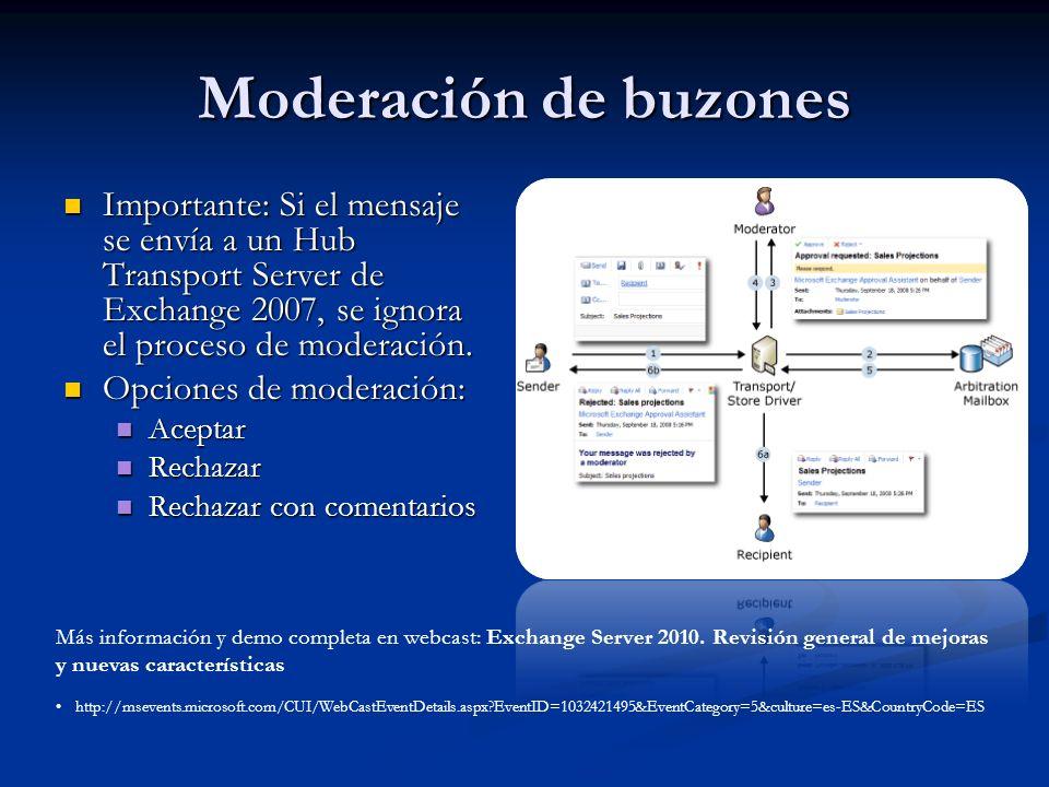 Moderación de buzones Importante: Si el mensaje se envía a un Hub Transport Server de Exchange 2007, se ignora el proceso de moderación. Importante: S