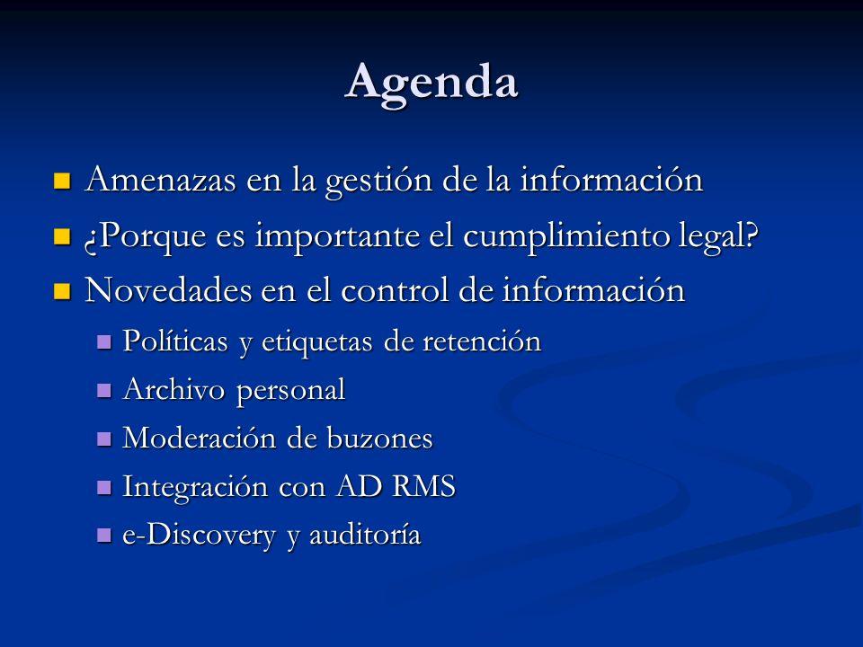 Agenda Amenazas en la gestión de la información Amenazas en la gestión de la información ¿Porque es importante el cumplimiento legal? ¿Porque es impor