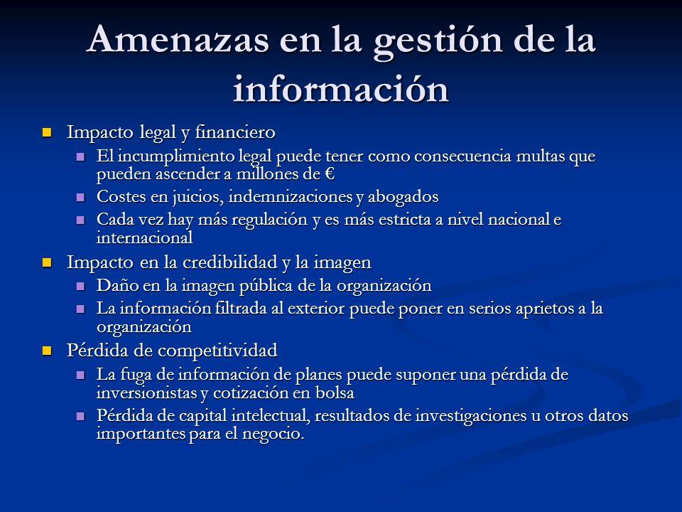 Amenazas en la gestión de la información Impacto legal y financiero Impacto legal y financiero El incumplimiento legal puede tener como consecuencia m