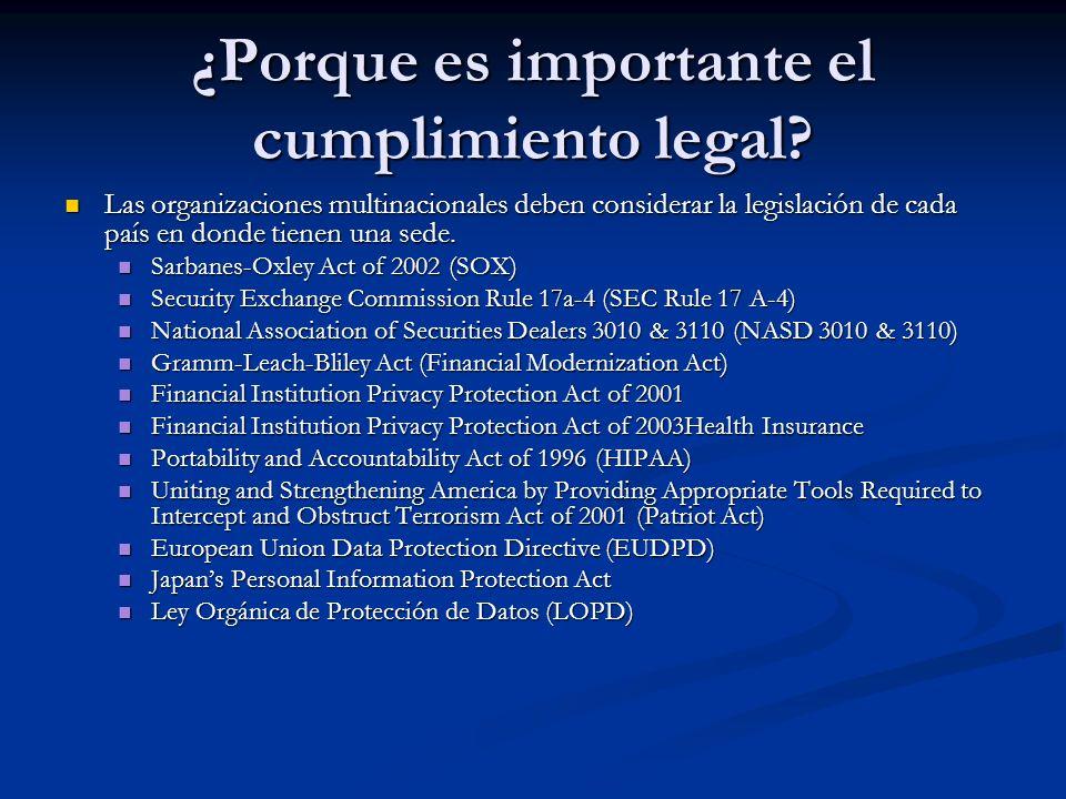 ¿Porque es importante el cumplimiento legal? Las organizaciones multinacionales deben considerar la legislación de cada país en donde tienen una sede.