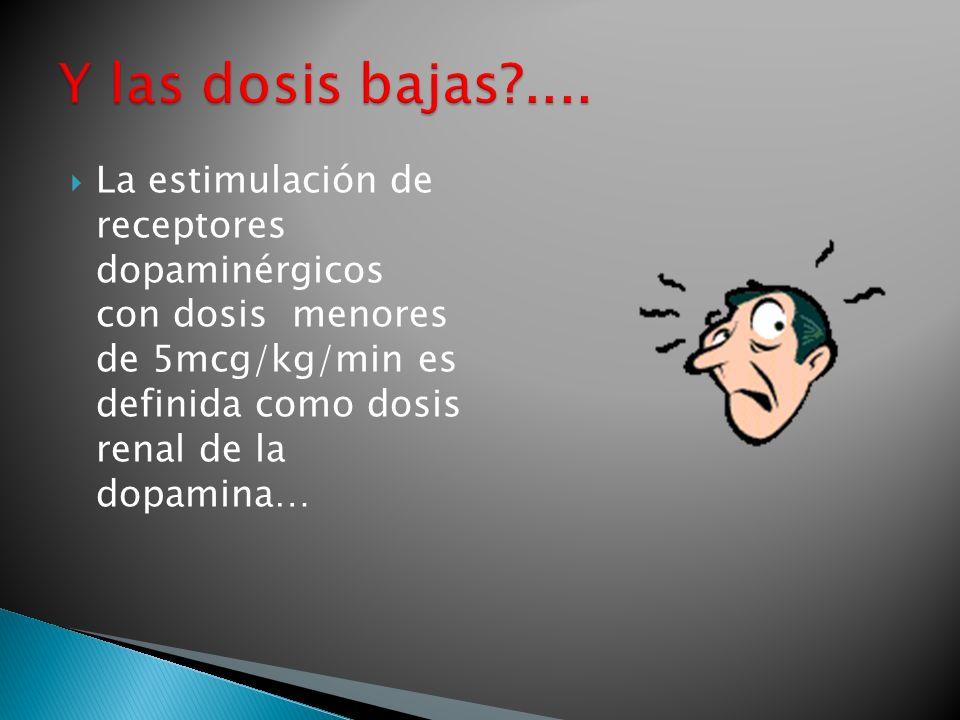 La estimulación de receptores dopaminérgicos con dosis menores de 5mcg/kg/min es definida como dosis renal de la dopamina…