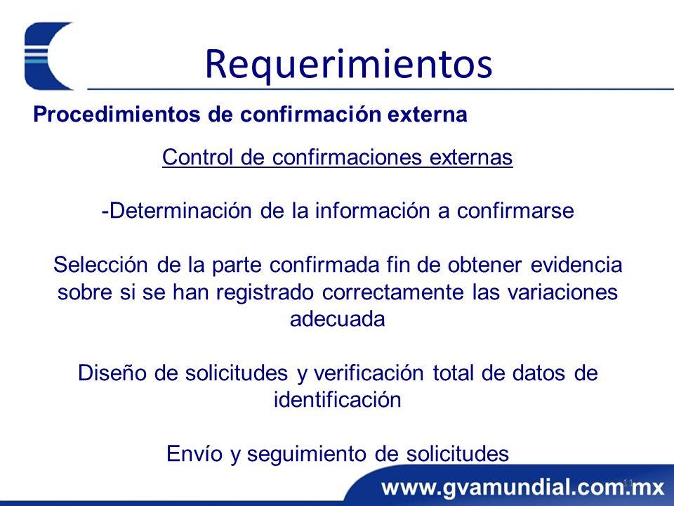 Procedimientos de confirmación externa Control de confirmaciones externas -Determinación de la información a confirmarse Selección de la parte confirmada fin de obtener evidencia sobre si se han registrado correctamente las variaciones adecuada Diseño de solicitudes y verificación total de datos de identificación Envío y seguimiento de solicitudes 11 Requerimientos