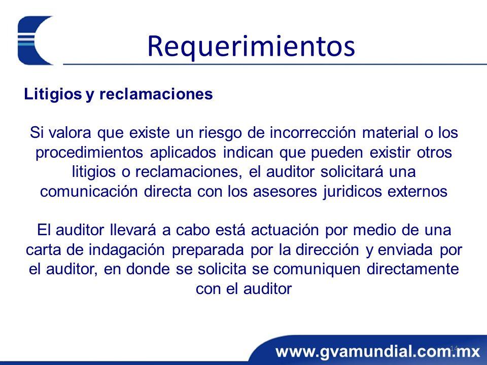 Litigios y reclamaciones Si valora que existe un riesgo de incorrección material o los procedimientos aplicados indican que pueden existir otros litig