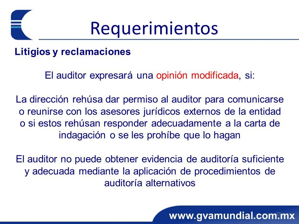 Litigios y reclamaciones El auditor expresará una opinión modificada, si: La dirección rehúsa dar permiso al auditor para comunicarse o reunirse con l