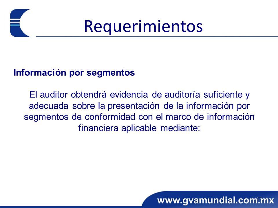 Información por segmentos El auditor obtendrá evidencia de auditoría suficiente y adecuada sobre la presentación de la información por segmentos de conformidad con el marco de información financiera aplicable mediante: 17 Requerimientos