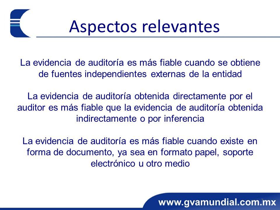 La evidencia de auditoría es más fiable cuando se obtiene de fuentes independientes externas de la entidad La evidencia de auditoría obtenida directam