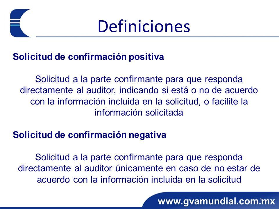Solicitud de confirmación positiva Solicitud a la parte confirmante para que responda directamente al auditor, indicando si está o no de acuerdo con l