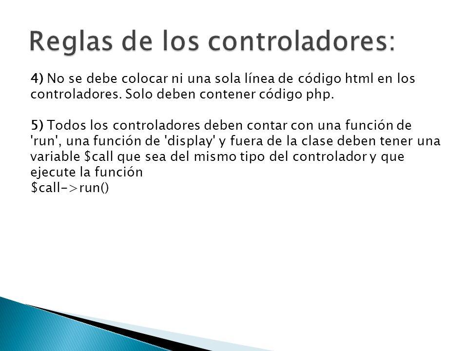 4) No se debe colocar ni una sola línea de código html en los controladores.