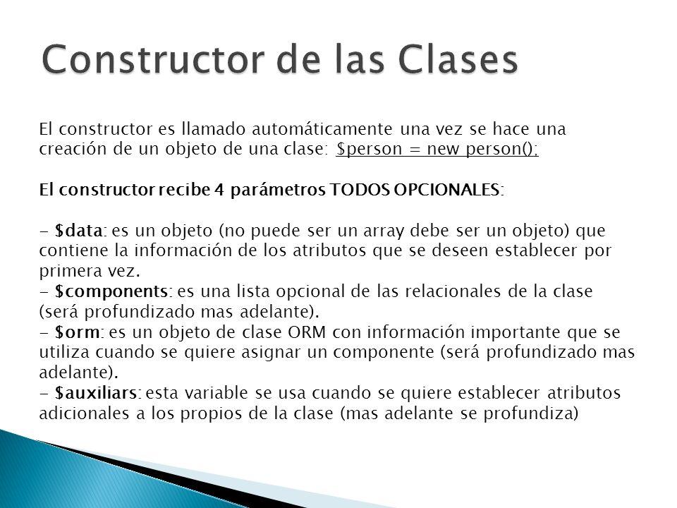El constructor es llamado automáticamente una vez se hace una creación de un objeto de una clase: $person = new person(); El constructor recibe 4 parámetros TODOS OPCIONALES: - $data: es un objeto (no puede ser un array debe ser un objeto) que contiene la información de los atributos que se deseen establecer por primera vez.