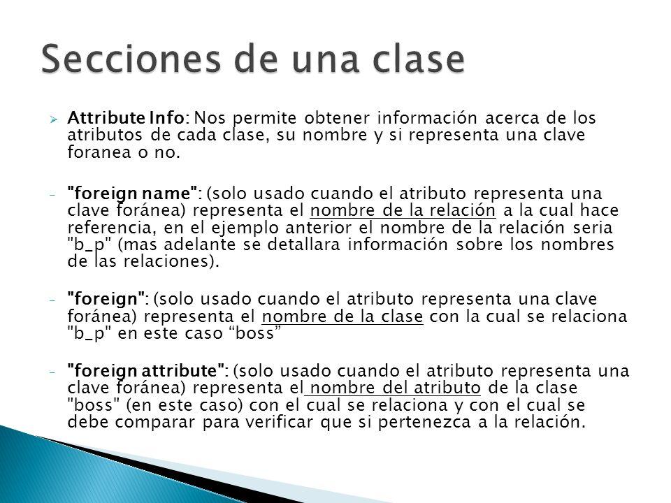 Attribute Info: Nos permite obtener información acerca de los atributos de cada clase, su nombre y si representa una clave foranea o no.