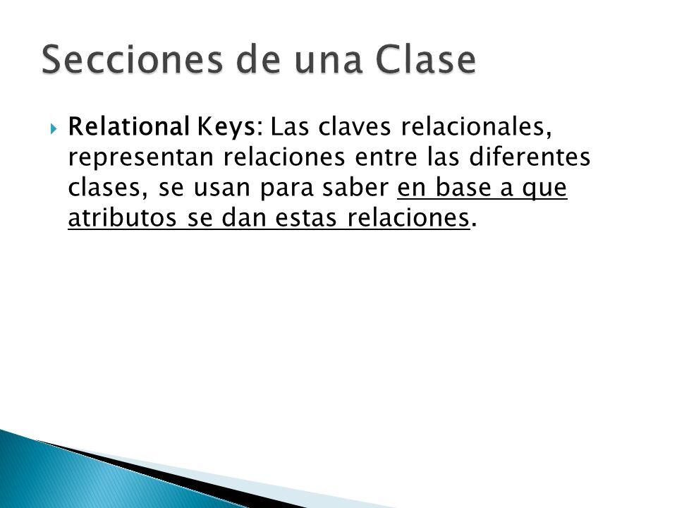 Relational Keys: Las claves relacionales, representan relaciones entre las diferentes clases, se usan para saber en base a que atributos se dan estas relaciones.