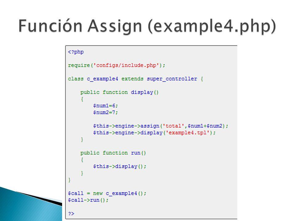 - Creamos el controlador example4.php en la ruta: glight/example4.php - Creamos el template example4.tpl en la ruta: glight/templates/example4.tpl