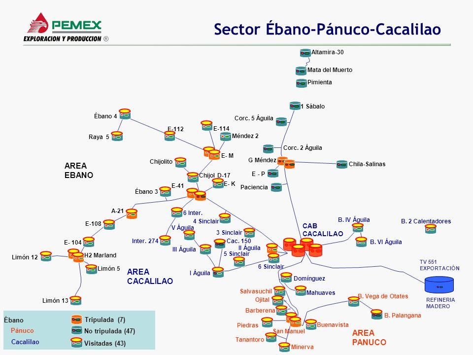 Sector Ébano-Pánuco-Cacalilao Corc. 2 Águila Corc. 5 Águila Altamira-30 Chila-Salinas G Méndez Mata del Muerto E - P Paciencia 1 Sábalo Pimienta A-21