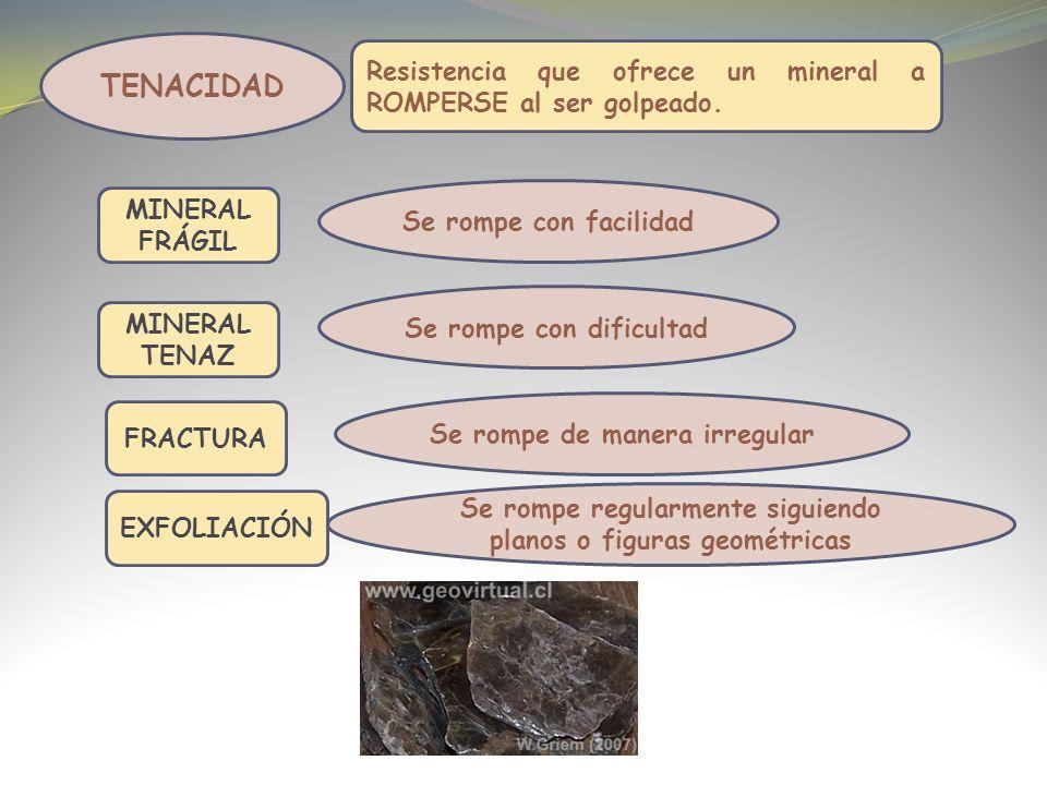 TENACIDAD Resistencia que ofrece un mineral a ROMPERSE al ser golpeado.