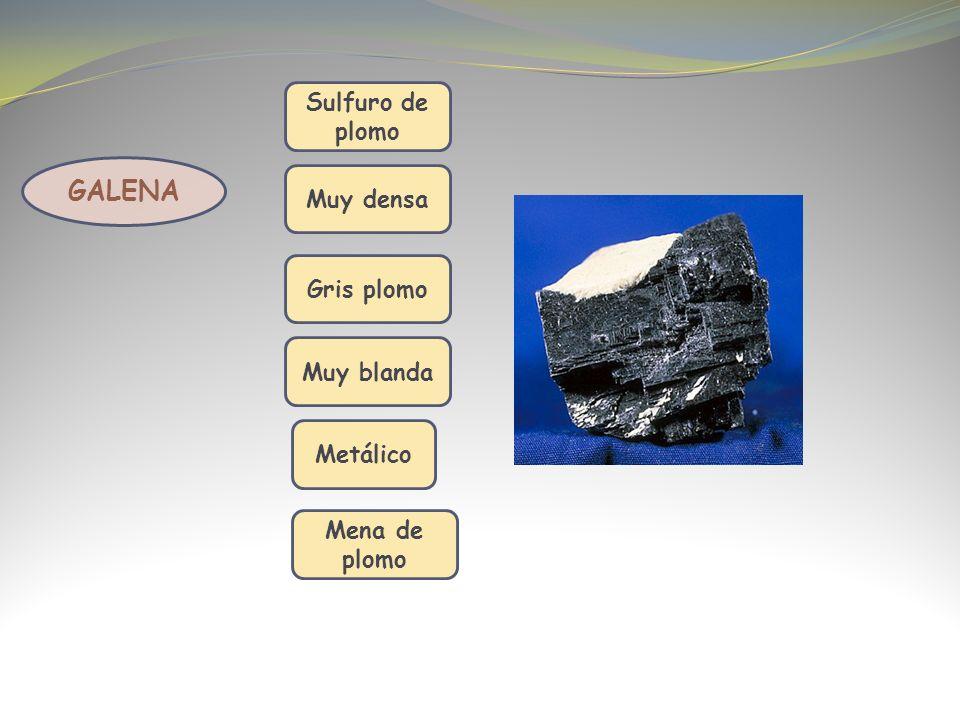 GALENA Sulfuro de plomo Muy densa Muy blanda Gris plomo Metálico Mena de plomo