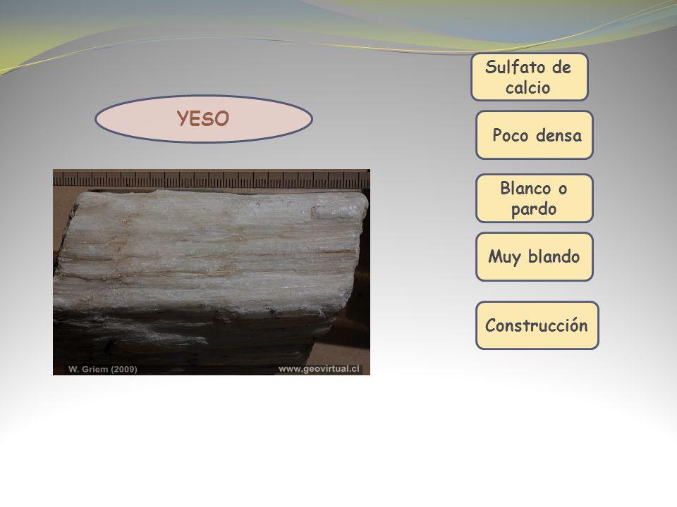 Sulfato de calcio Poco densa Construcción YESO Blanco o pardo Muy blando