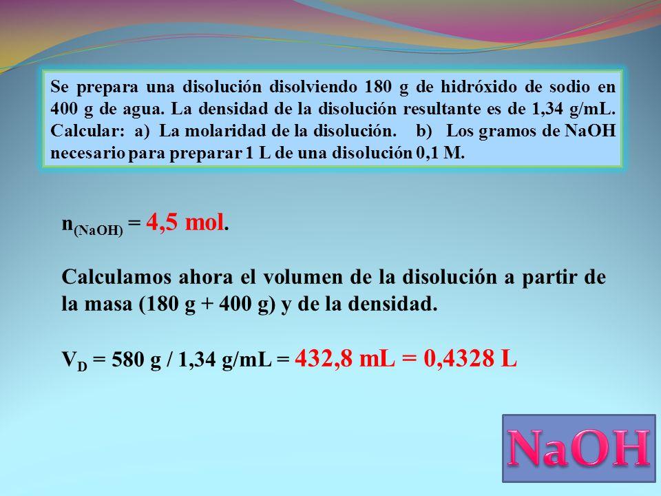 Se prepara una disolución disolviendo 180 g de hidróxido de sodio en 400 g de agua.