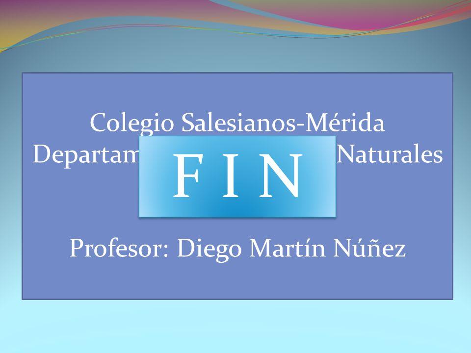 Respuestas: La molaridad de la disolución es 10,4 M La masa de NaOH necesaria es 4 g Colegio Salesianos-Mérida Departamento de Ciencias Naturales QUÍMICA Profesor: Diego Martín Núñez F I N