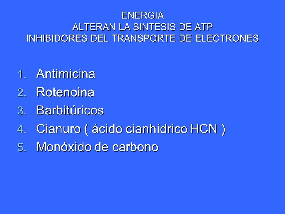 ENERGIA ALTERAN LA SINTESIS DE ATP INHIBIDORES DEL TRANSPORTE DE ELECTRONES 1. Antimicina 2. Rotenoina 3. Barbitúricos 4. Cianuro ( ácido cianhídrico