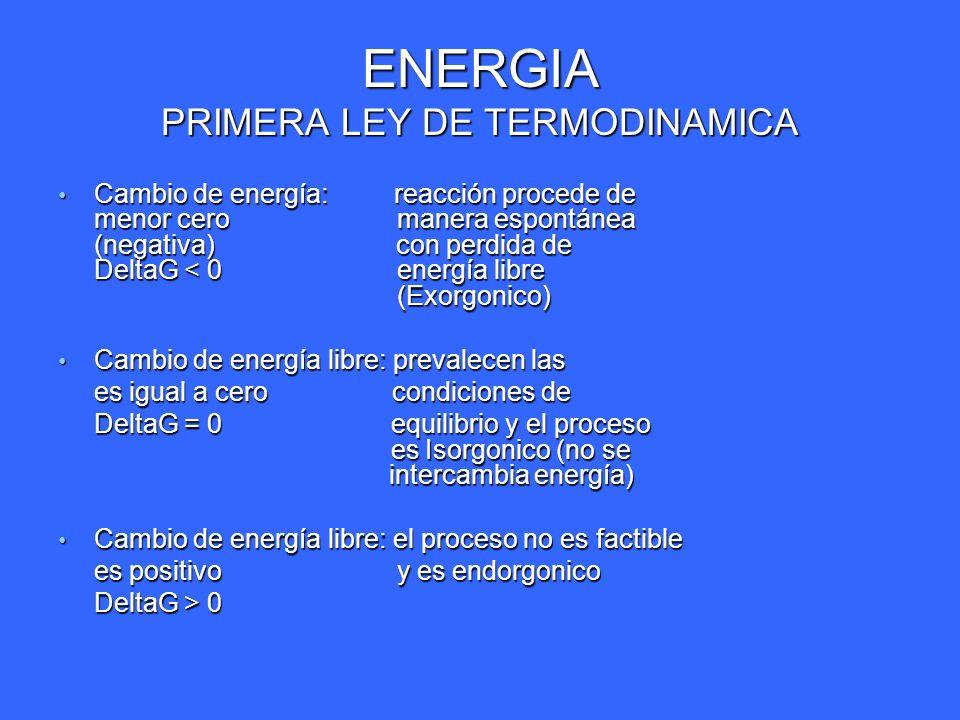 ENERGIA PRIMERA LEY DE TERMODINAMICA Cambio de energía: reacción procede de menor cero manera espontánea (negativa) con perdida de DeltaG < 0 energía