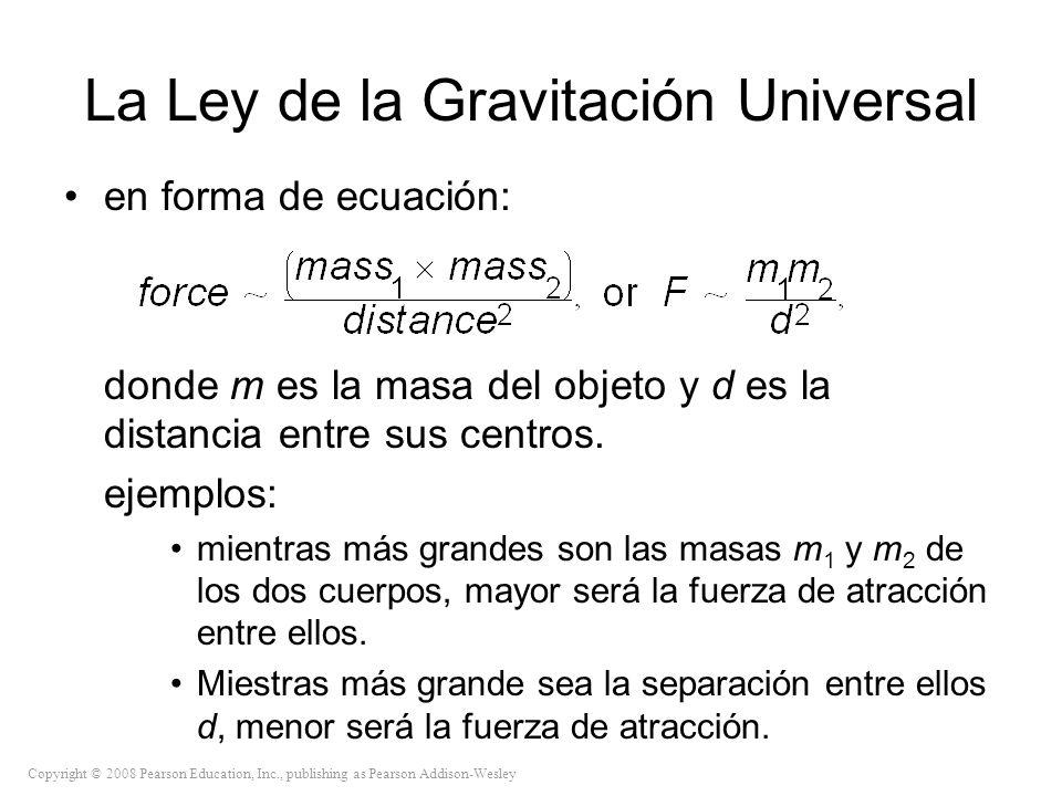 Copyright © 2008 Pearson Education, Inc., publishing as Pearson Addison-Wesley La Ley de la Gravitación Universal en forma de ecuación: donde m es la