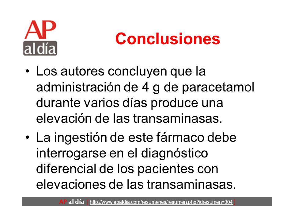 AP al día [ http://www.apaldia.com/resumenes/resumen.php?idresumen=304 ] Conclusiones Los autores concluyen que la administración de 4 g de paracetamol durante varios días produce una elevación de las transaminasas.