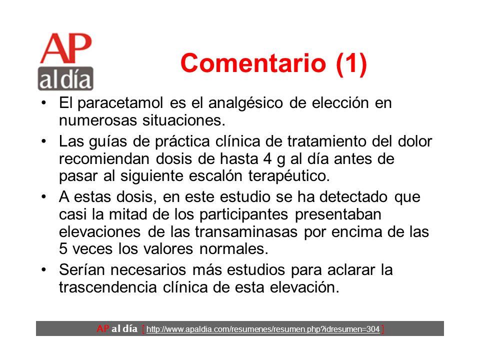 AP al día [ http://www.apaldia.com/resumenes/resumen.php?idresumen=304 ] Comentario (1) El paracetamol es el analgésico de elección en numerosas situaciones.