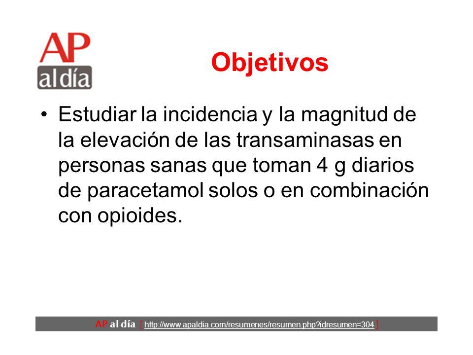 AP al día [ http://www.apaldia.com/resumenes/resumen.php?idresumen=304 ] Objetivos Estudiar la incidencia y la magnitud de la elevación de las transaminasas en personas sanas que toman 4 g diarios de paracetamol solos o en combinación con opioides.