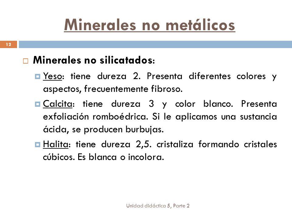 Unidad didáctica 5, Parte 2 12 Minerales no silicatados: Yeso: tiene dureza 2. Presenta diferentes colores y aspectos, frecuentemente fibroso. Calcita