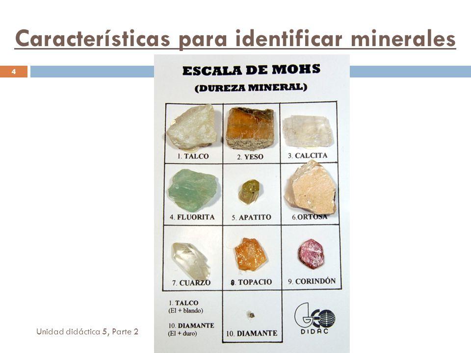 Unidad didáctica 5, Parte 2 4 Características para identificar minerales