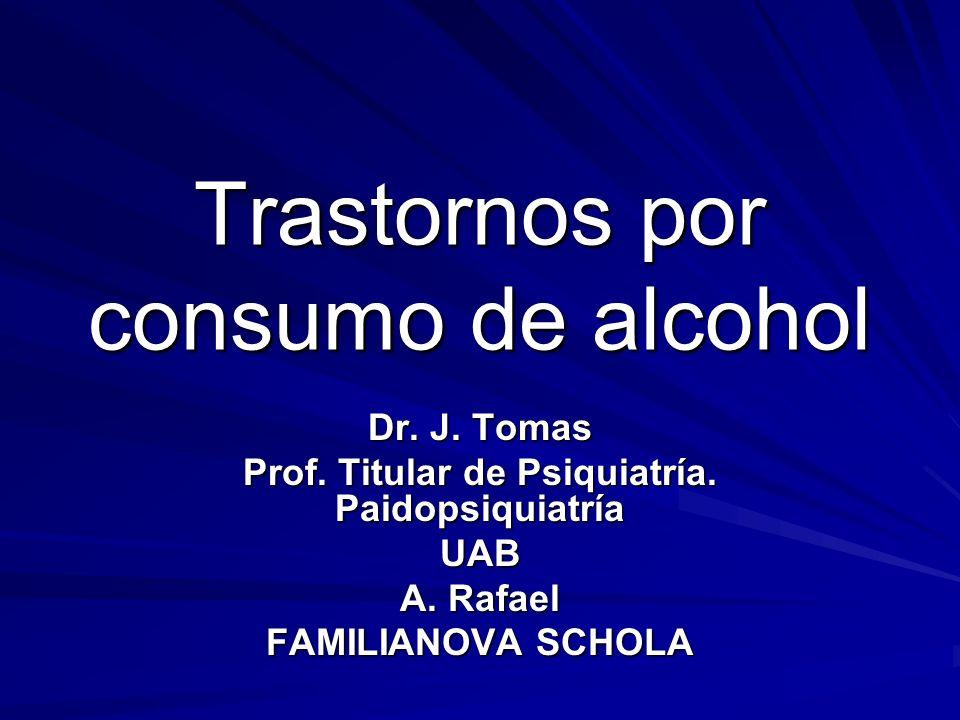 Trastornos por consumo de alcohol Dr. J. Tomas Prof. Titular de Psiquiatría. Paidopsiquiatría UAB A. Rafael FAMILIANOVA SCHOLA