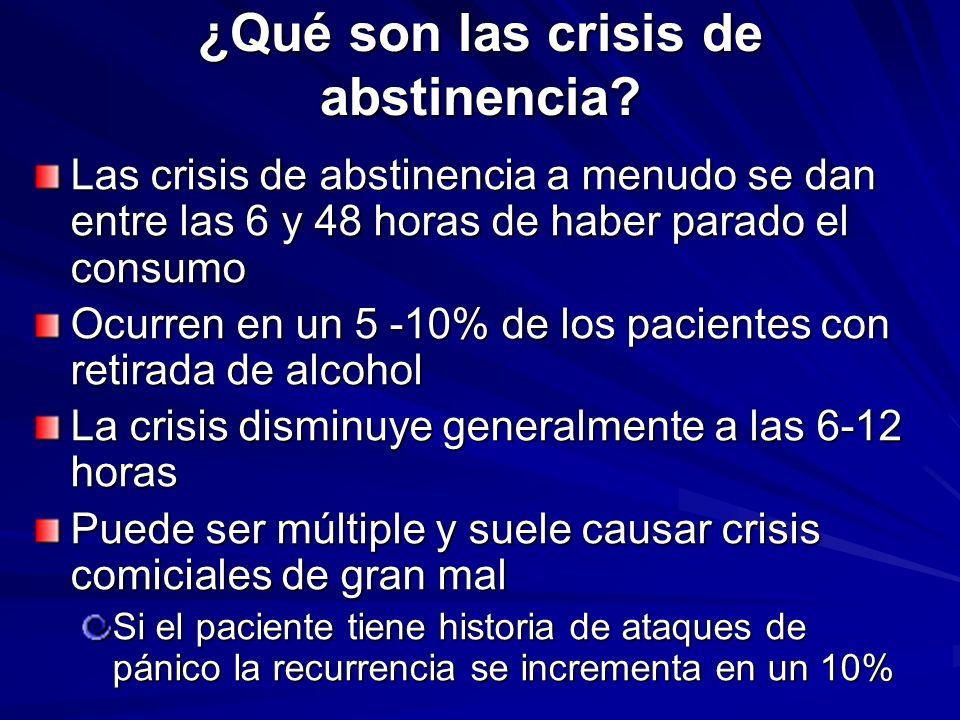¿Qué son las crisis de abstinencia? Las crisis de abstinencia a menudo se dan entre las 6 y 48 horas de haber parado el consumo Ocurren en un 5 -10% d