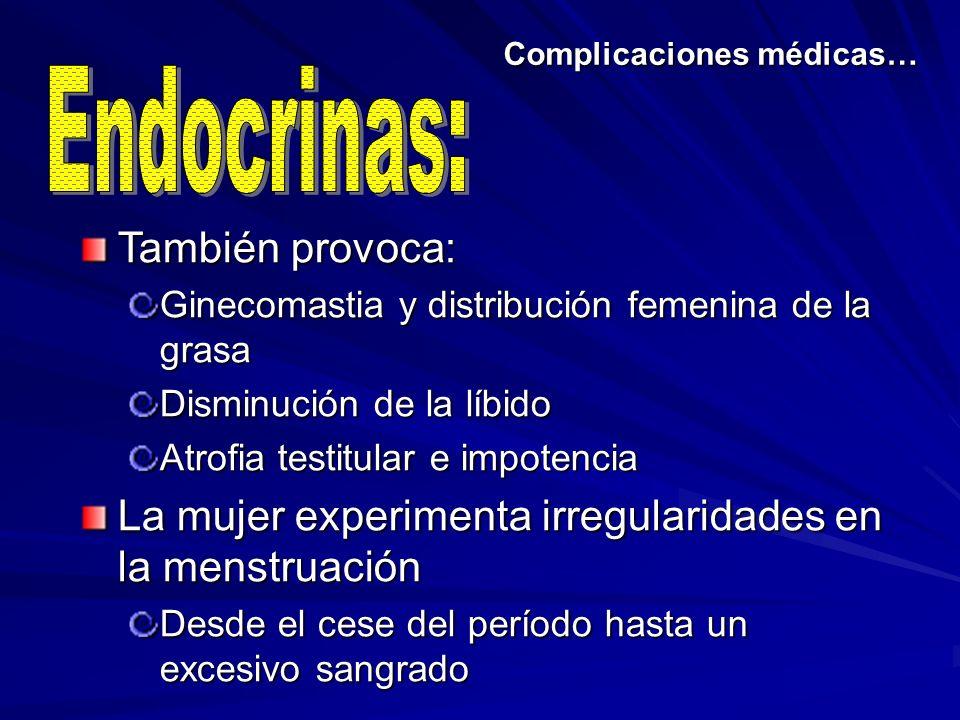Complicaciones médicas… También provoca: Ginecomastia y distribución femenina de la grasa Disminución de la líbido Atrofia testitular e impotencia La