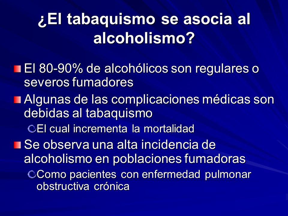 ¿El tabaquismo se asocia al alcoholismo? El 80-90% de alcohólicos son regulares o severos fumadores Algunas de las complicaciones médicas son debidas