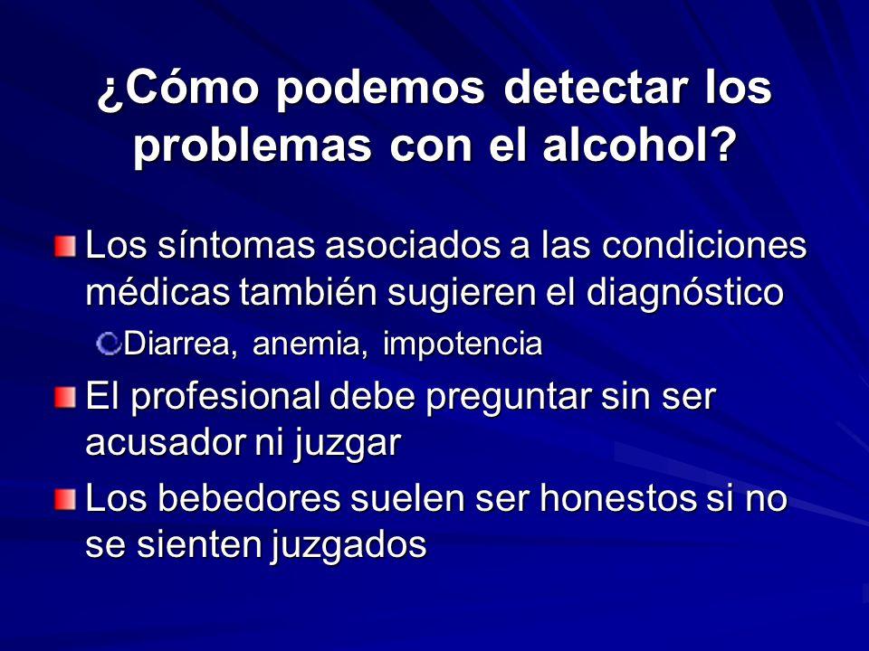 ¿Cómo podemos detectar los problemas con el alcohol? Los síntomas asociados a las condiciones médicas también sugieren el diagnóstico Diarrea, anemia,